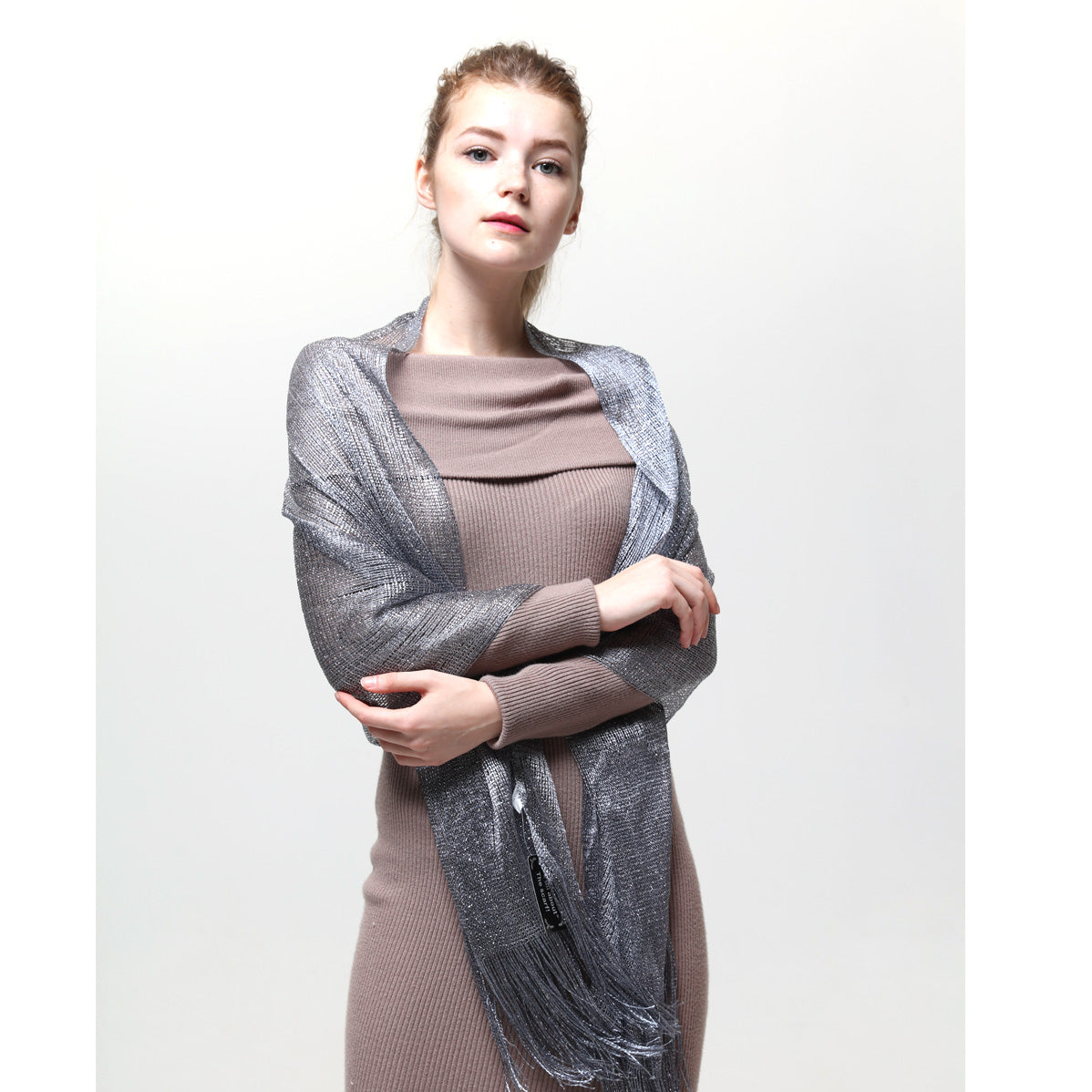 AM23118-02  Lurex Sheer Metallic Evening Scarf  Grey