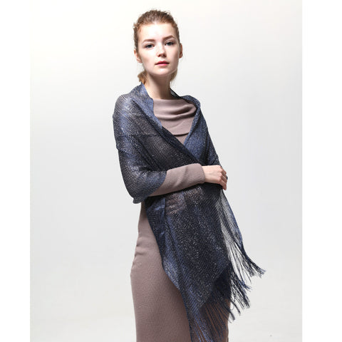 AM23118-05   Lurex Sheer Metallic Evening Scarf  Navy