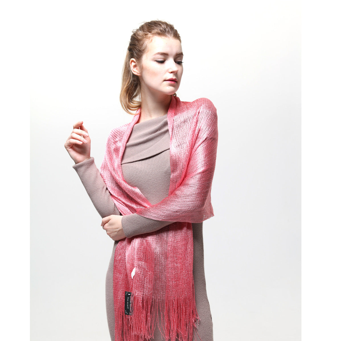 AM23118-08  Lurex Sheer Metallic Evening Scarf  Pink
