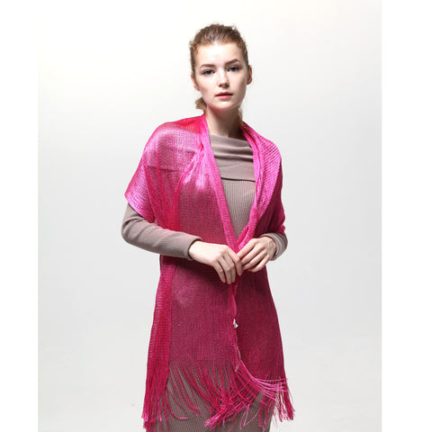 AM23118-10  Lurex Sheer Metallic Evening Scarf  Fuchsia