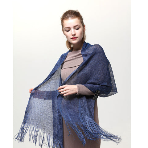 AM23118-14 Lurex Sheer Metallic Evening Scarf  Denim