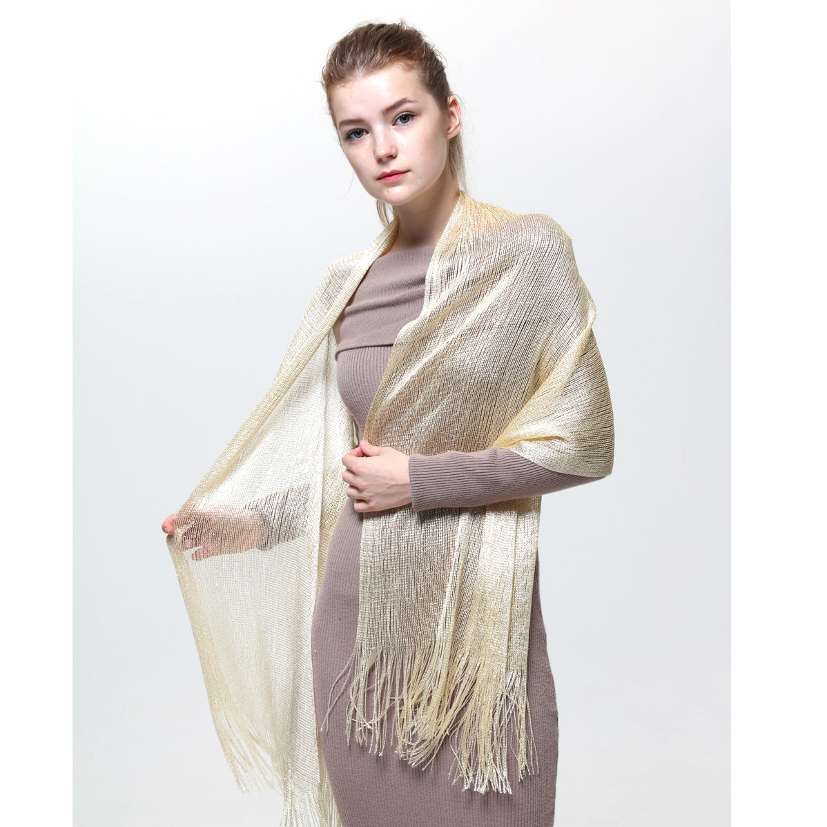 AM23118-15 Lurex Sheer Metallic Evening Scarf  Cream