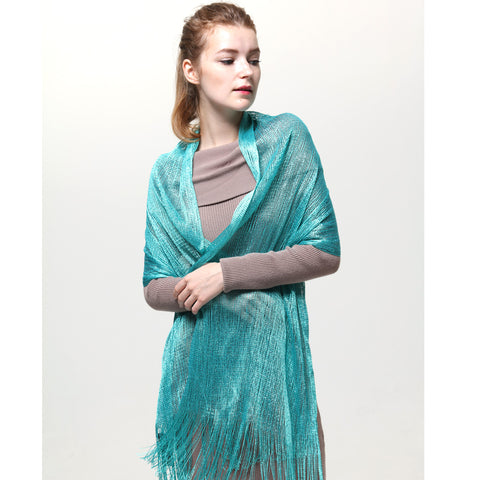 AM23118-16 Lurex Sheer Metallic Evening Scarf  Teal