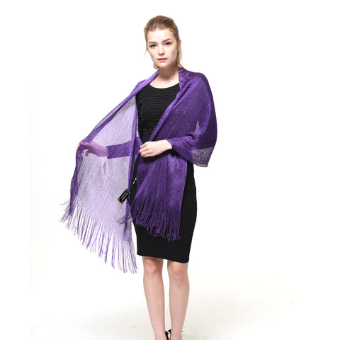 AM23118-19 Lurex Sheer Metallic Evening Scarf  Purple