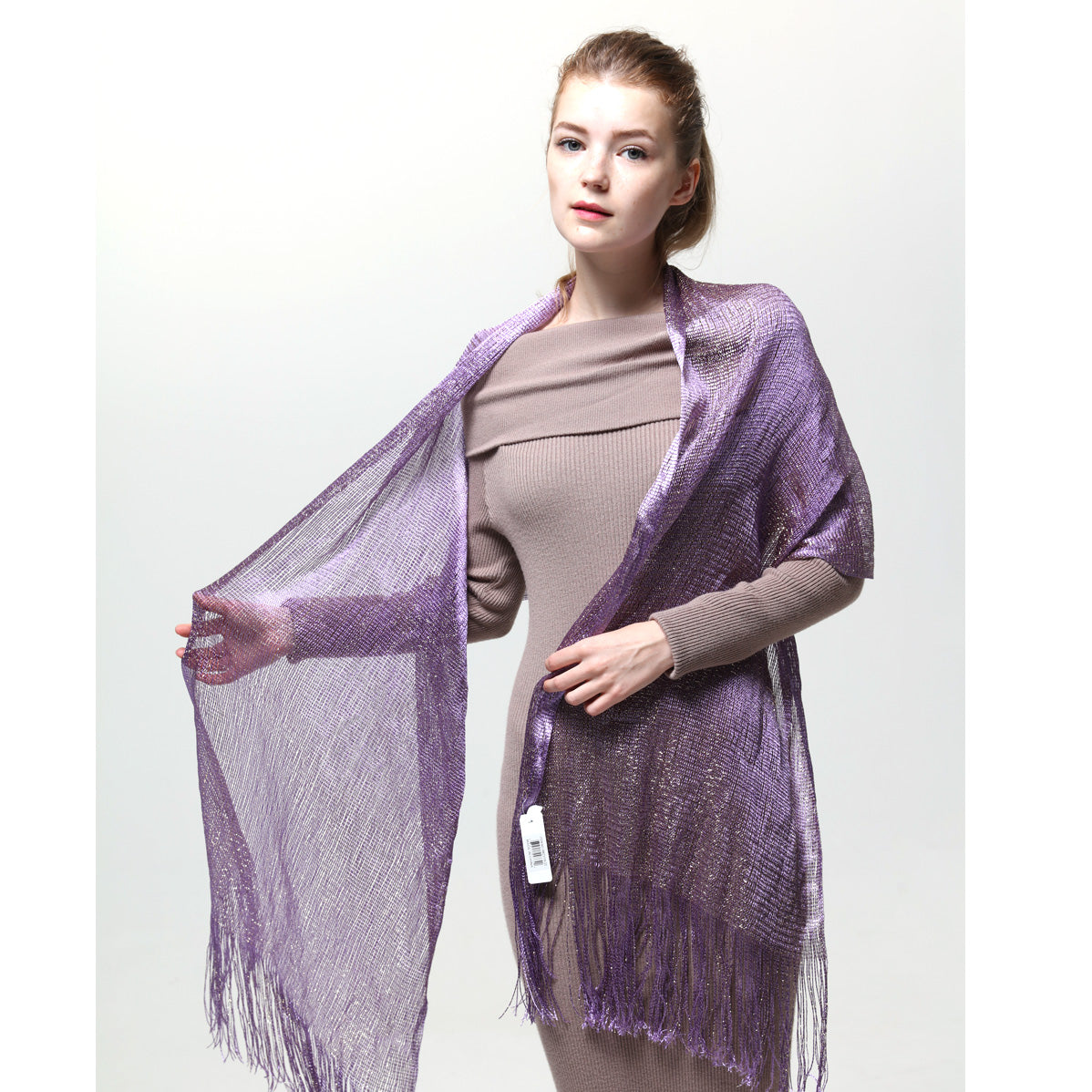 AM23118-22 Lurex Sheer Metallic Evening Scarf  Light Purple