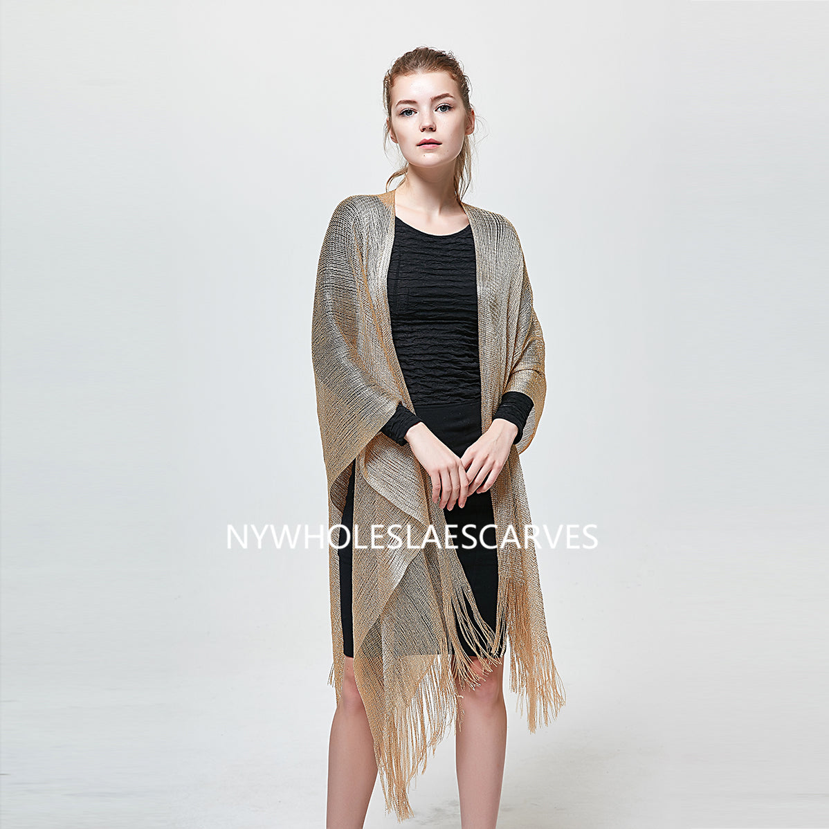 AM23117 Modern Metallic Net Oblong Party Shawl Black