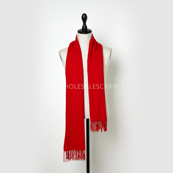 Cashmere Touch Solid Shawl FWAZ19-04 Red
