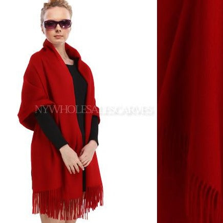 Cashmere Touch Solid  Shawl FW19-01 Dark Red