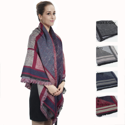 Fashion Stylish Plaid Fringe Tartan Blanket Scarf CG27103