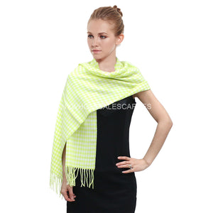 Houndstooth Plaid Scarf FW06-08 Yellow/Green