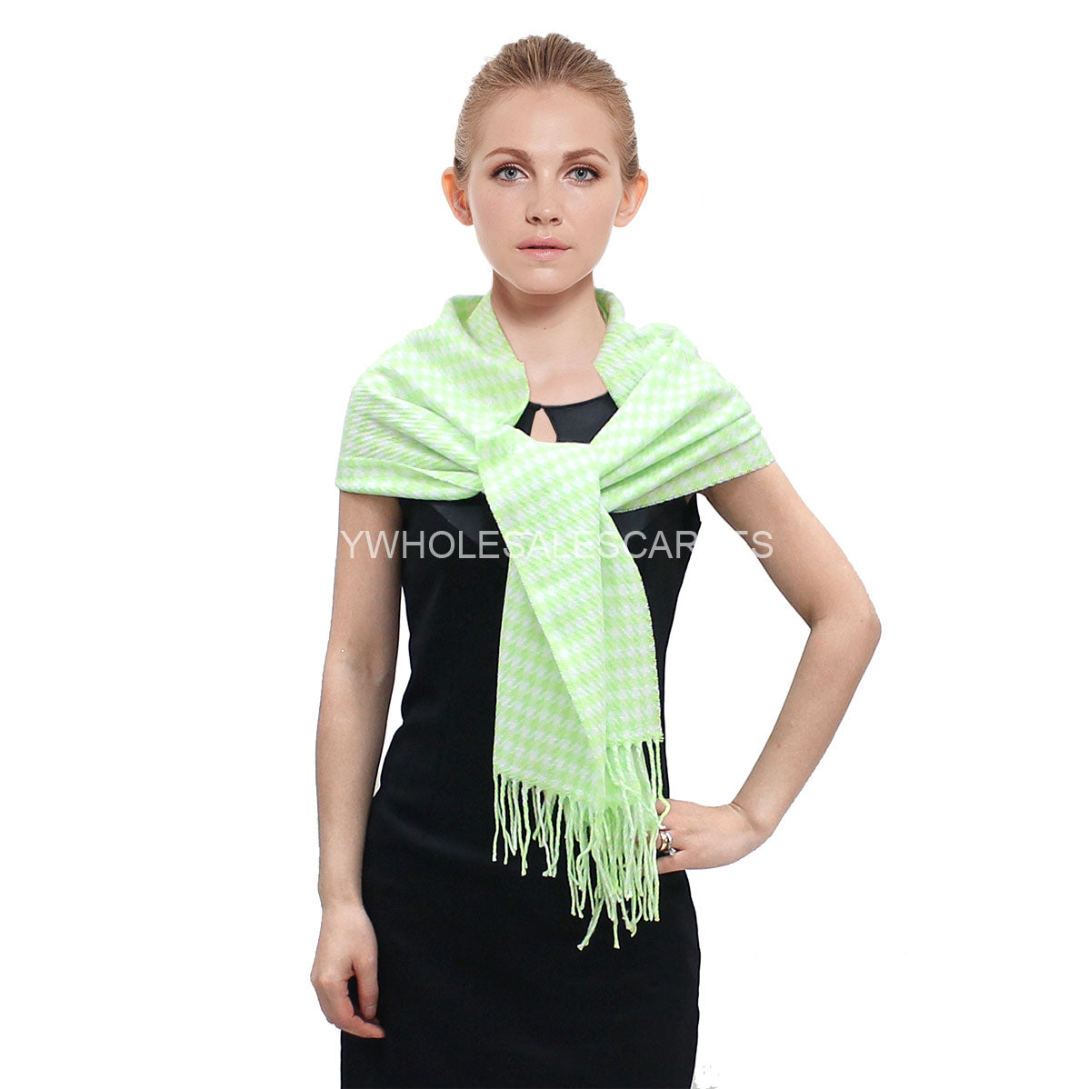 Houndstooth Plaid Scarf FW06-11  Green