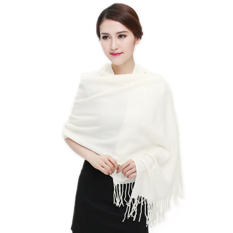 Cashmere Touch Solid Shawl  FWAZ19-11 Ivory