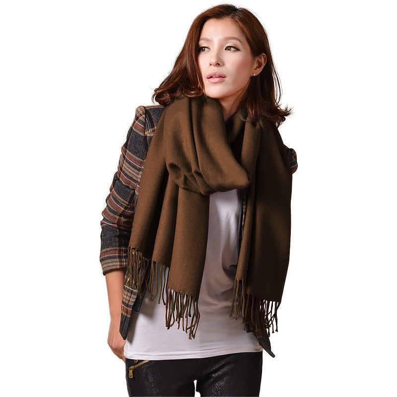 Cashmere Touch Solid Shawl  FWAZ19-03 Brown