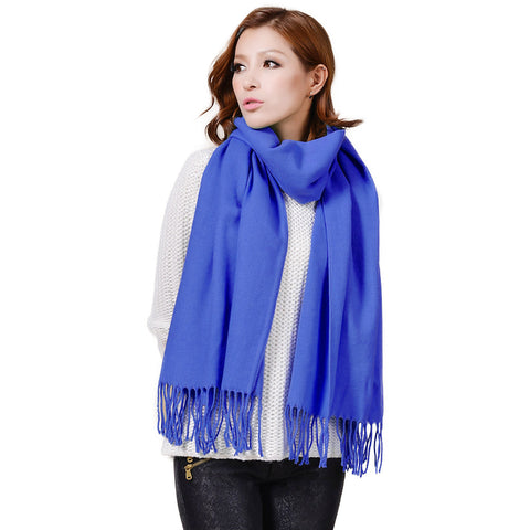 Cashmere Touch Solid Shawl  FWAZ19-16 Blue