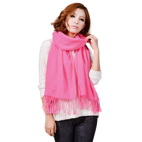 Cashmere Touch Solid Shawl  FWAZ19-20 Light Fuschia