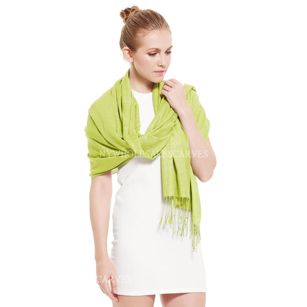 9335 Premium Silky Soft Bamboo Fiber Shawl Light Yellow Green
