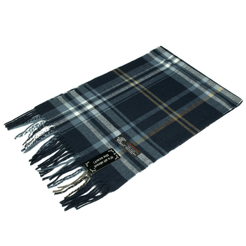 Cashmere Feel Scarf NY165 Navy/Yellow/White