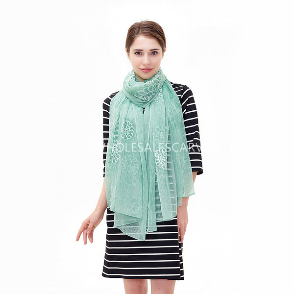 Embroidered Flower Pedal Silky Scarf YY211212 Sea Green