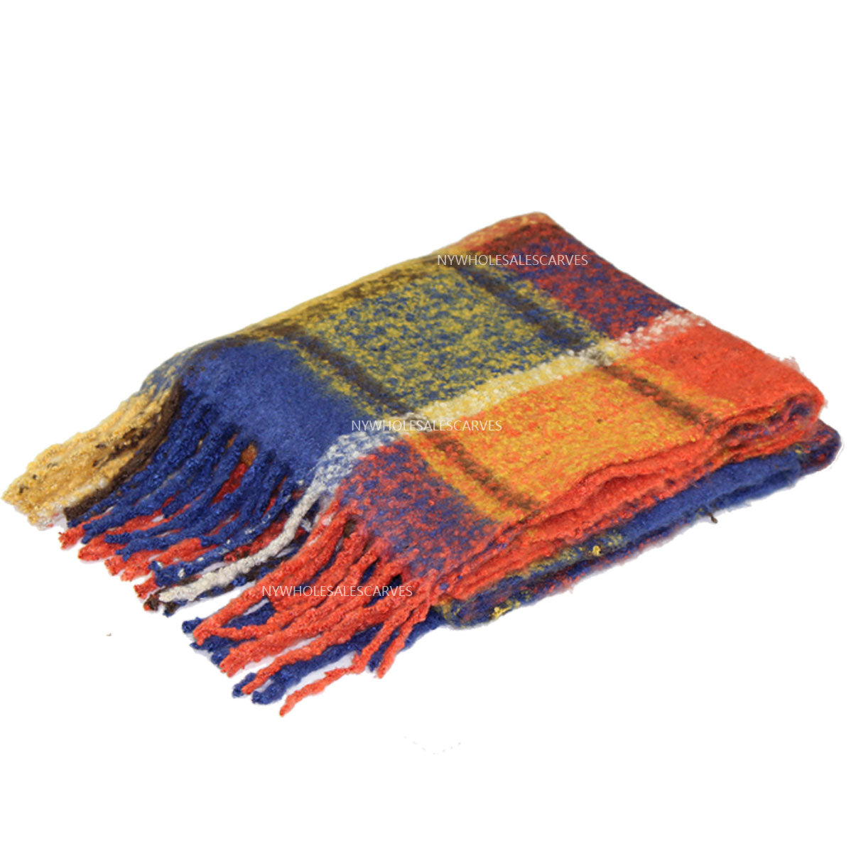 Long Warm Mohair Tassels Plaid Shawl FW23105 Orange/Blue