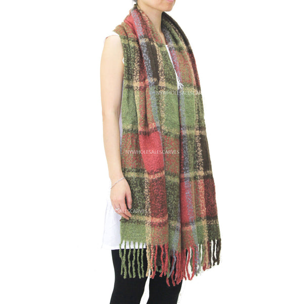 Long Warm Mohair Tassels Plaid  Shawl FW23105 Orange/Green