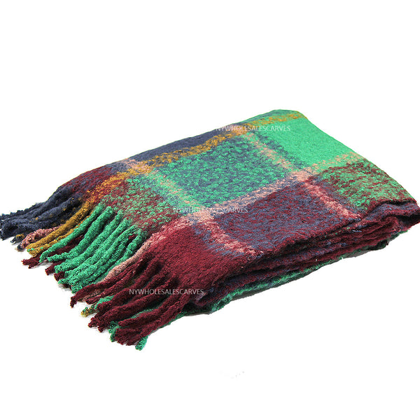 Long Warm Mohair Tassels Plaid  Shawl FW23105 Purple/Green