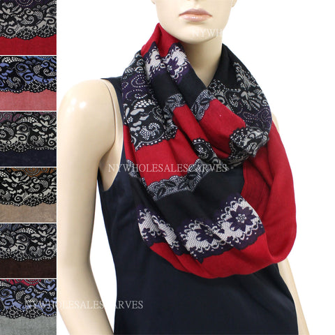 Striped Floral Infinity Scarf FW7533 Assorted Colors