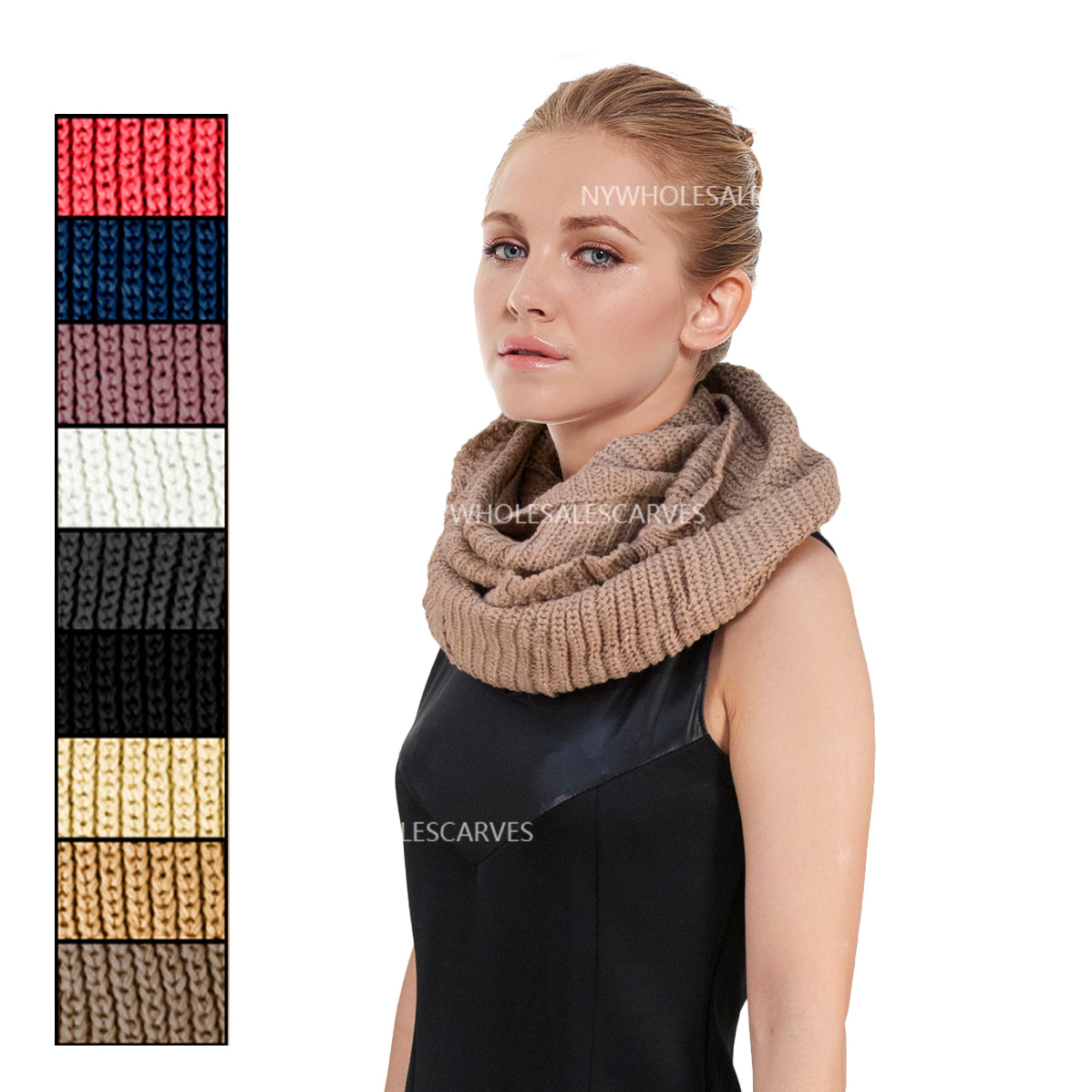 Knit Infinity Scarf FW929 Assorted Colors