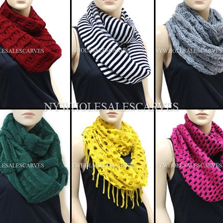 Assorted Winter Infinity Scarf KIF12S Assorted Cololrs & Styles