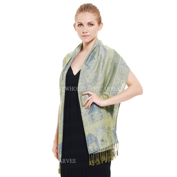 IPB05 Indian Paisley Pashmina Light Turquoise