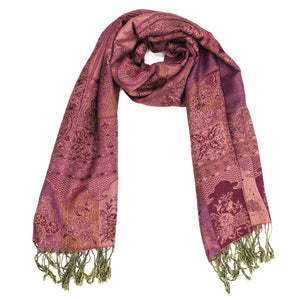 IPB10 Indian Paisley Pashmina Dark Pink