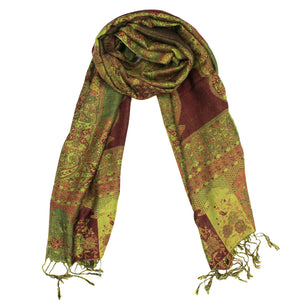 IPB11 Indian Paisley Pashmina Green Red