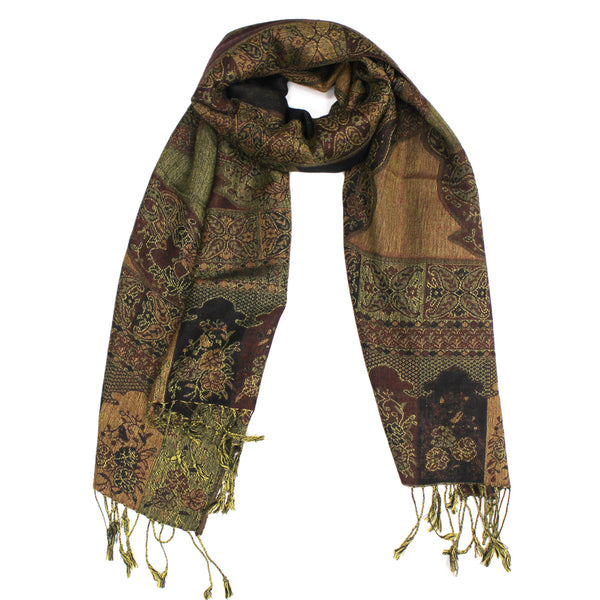 IPB15 Indian Paisley Pashmina Dark Brown