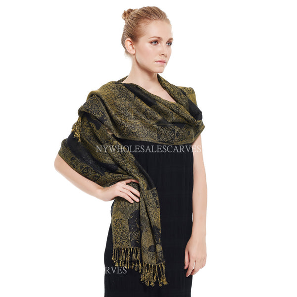 IPB19 Indian Paisley Pashmina Black