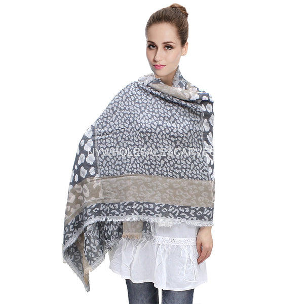 W6702 Double Layer Graphic Leopard Print Pashmina Grey