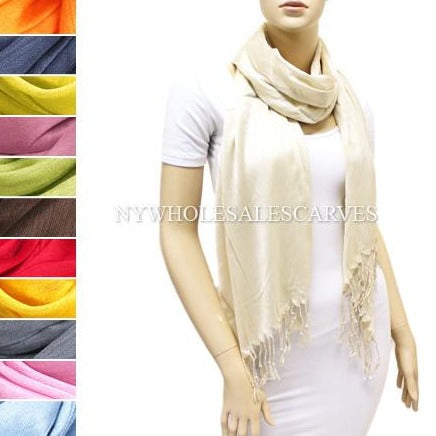 Silky Fringed Shawl FWPS Assorted Colors