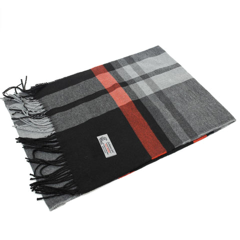 Cashmere Feel Scarf FW35-6  Red/Black/Grey