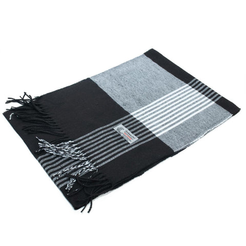 Cashmere Feel Scarf FW36-2 Black/Grey Stripe