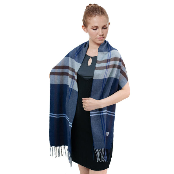 Cashmere Feel Scarf FW573 Navy/Grey/Brown
