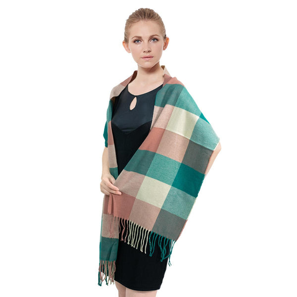 Cashmere Feel Scarf FW09-08  Green/Ash pink/Beige