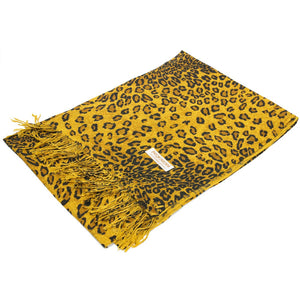 W057-1B Leopard Print Pashmina Shawl Brown/Gold