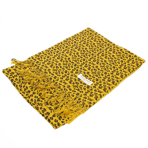 W057-1S Leopard Print Pashmina Shawl Brown/Gold