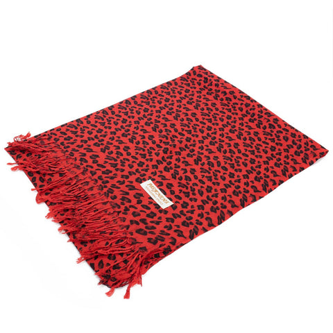 W057-4 Leopard Print Pashmina Shawl  Black/Red