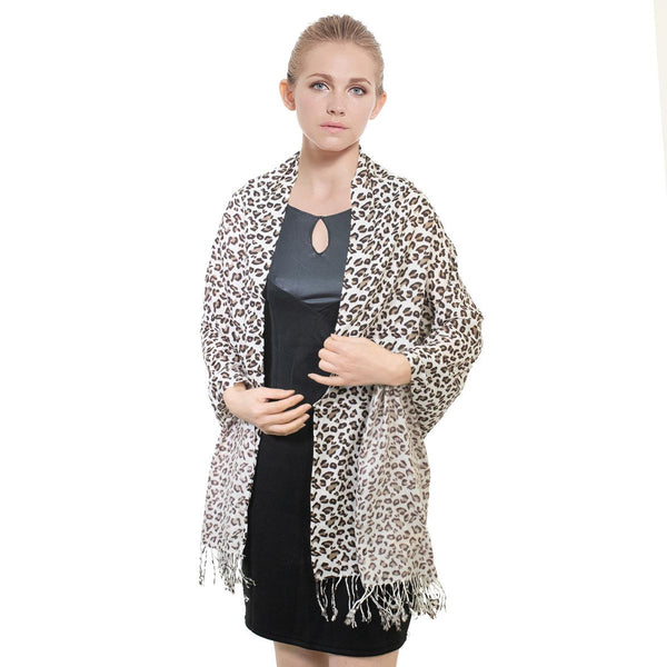 W057-5  Leopard Print Pashmina Shawl Brown/White
