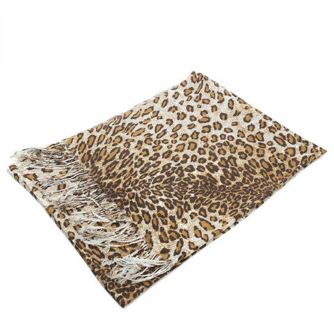 W057-7  Leopard Print Pashmina Shawl Chocolate/Brown