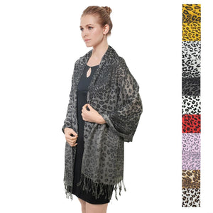 NYW057S  Leopard Print Pashmina Shawl Assorted Colors
