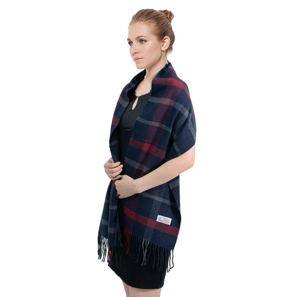 Cashmere Feel Scarf FW28-7 Navy/Red/Grey