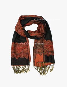 PL0301 Black Orange Border Pattern Pashmina