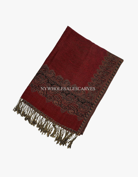 PL0303 Burgundy Border Pattern Pashmina