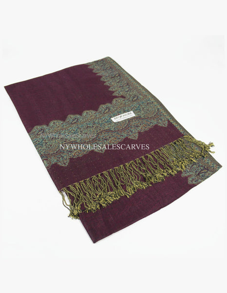 PL0307 Dark Burgundy Border Pattern Pashmina