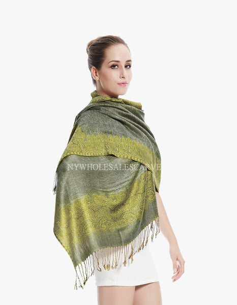 PL0312 Grey/Yellow Border Pattern Pashmina